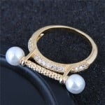 Pearl and Cubic Zirconia Embellished Luxurious Style High Fashion Golden Ring