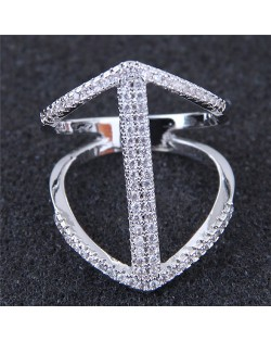 Cubic Zirconia Inlaid Elegant Hollow Fashion Knuckle Ring - Silver