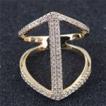 Cubic Zirconia Inlaid Elegant Hollow Fashion Knuckle Ring - Golden