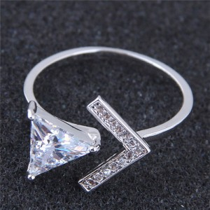 Cubic Zirconia Inlaid Triangle and Arrow Combo Design Fashion Ring
