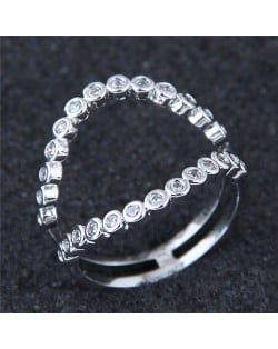 Cubic Zirconia Inlaid Simple Open Style Fashion Ring
