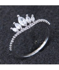 Cubic Zirconia Crown Design Fashion Ring