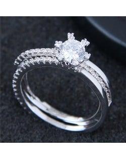 Six Claws Glistening Fashion Engagement/ Wedding Ring