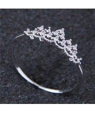 Cubic Zirconia Inlaid Crown Design Princess Fashion Ring