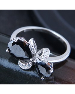Cubic Zirconia Embellished Black Butterfly Fashion Ring