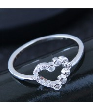 Cubic Zirconia Inlaid Love Heart Fashiong Ring