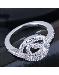 Glistening Cubic Zirconia Heart High Fashion Ring