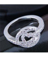 Glistening Cubic Zirconia Heart High Fashion Ring