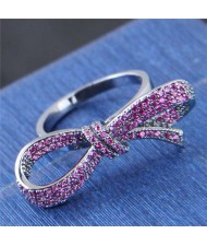 Cubic Zirconia Inlaid Delicate Bowknot Design Fashion Ring