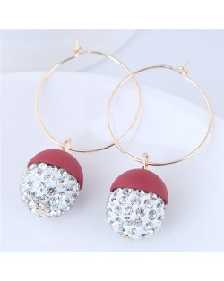 Rhinestone Inlaid Candy Color Ball Pendants Hoop Fashion Earrings - Red