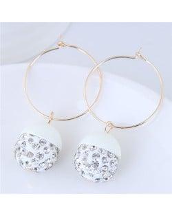 Rhinestone Inlaid Candy Color Ball Pendants Hoop Fashion Earrings - White