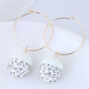 Rhinestone Inlaid Candy Color Ball Pendants Hoop Fashion Earrings - White