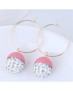 Rhinestone Inlaid Candy Color Ball Pendants Hoop Fashion Earrings - Pink