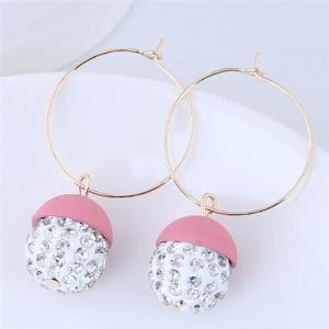 Rhinestone Inlaid Candy Color Ball Pendants Hoop Fashion Earrings - Pink
