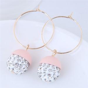 Rhinestone Inlaid Candy Color Ball Pendants Hoop Fashion Earrings - Light Pink