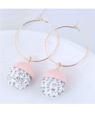 Rhinestone Inlaid Candy Color Ball Pendants Hoop Fashion Earrings - Light Pink