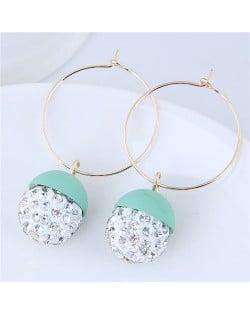 Rhinestone Inlaid Candy Color Ball Pendants Hoop Fashion Earrings - Teal