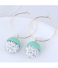 Rhinestone Inlaid Candy Color Ball Pendants Hoop Fashion Earrings - Teal