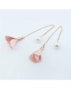 Korean Fashion Pearl and Petals Flower Design Fashion Earrings - Pink