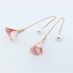 Korean Fashion Pearl and Petals Flower Design Fashion Earrings - Pink