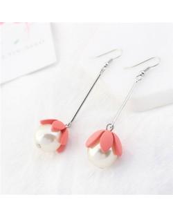 Adorable Pearl Flower Design Korean Fashion Earrings - Rose