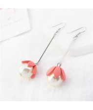 Adorable Pearl Flower Design Korean Fashion Earrings - Rose