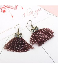 Vintage Night-owl Feather Fashion Costume Earrings - Pink