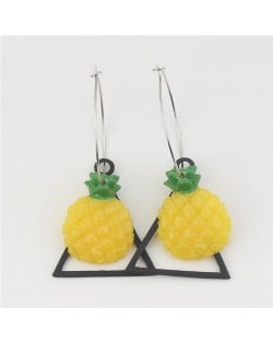 Korean Fashion Pineapple with Triangle Pendant Costume Earrings