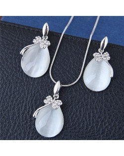 Shining Dragonfly Embellished Opal Waterdrops Costume Necklace and Earrings Set - Silver