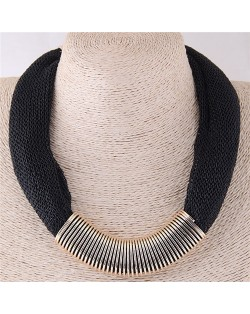Alloy Wire Decorated Chunky Thick Chain Design High Fashion Costume Necklace - Black
