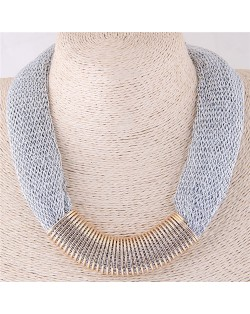 Alloy Wire Decorated Chunky Thick Chain Design High Fashion Costume Necklace - Silver