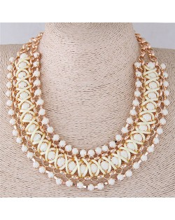 Resin Gems Embellished Triple Layers Chunky Style Fashion Statement Necklace