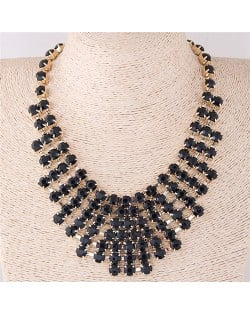 Black Resin Gems Inlaid Chunky Costume Necklace