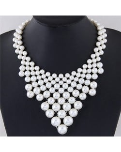 Pearl Cluster Weaving Style Chunky Fashion Statement Necklace
