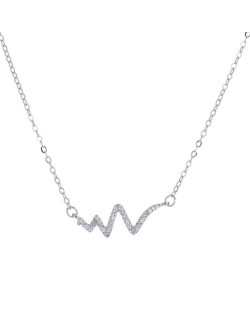 Shining Cubic Zirconia Inlaid Cardiogram Pendant High Fashion Necklace