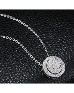 Shining Cubic Zirconia Inlaid Moon and Sun Combo Design High Fashion Necklace