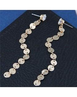 Bling Bling Golden Sequins High Fashion Dangling Earrings
