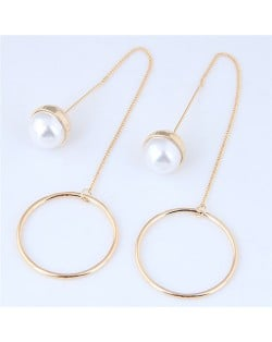 Pearl and Hoop Simple Fashion Earrings - Golden