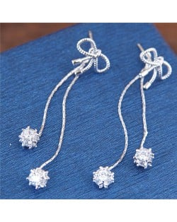 Sweet Bowknot with Shining Tassel Design High Fashion Stud Earrings