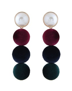 Flannel Buttons Pearl Fashion Stud Earrings - Multicolor