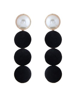 Flannel Buttons Pearl Fashion Stud Earrings - Black