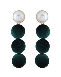 Flannel Buttons Pearl Fashion Stud Earrings - Green