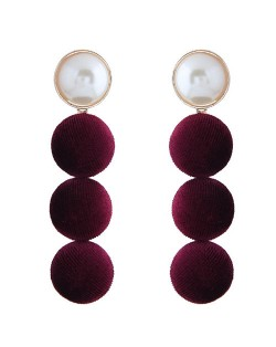 Flannel Buttons Pearl Fashion Stud Earrings - Red