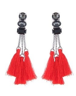 Resin Gems Inlaid Cotton Threads Tassel Women Fashion Earrings - Red