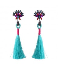 Rhinestone Shining Flower with Cotton Threads Tassel Design High Fashion Stud Earrings - Sky Blue