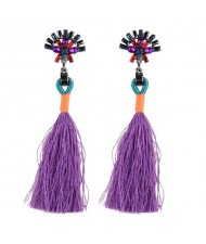 Rhinestone Shining Flower with Cotton Threads Tassel Design High Fashion Stud Earrings - Purple