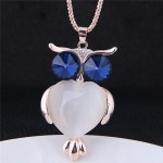 Opal Inlaid Ink Blue Eye Night-owl Long Style Costume Fashion Necklace