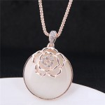 Hollow Golden Flower Attached Round Opal Pendant High Fashion Costume Necklace