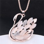 Opal Beads Feather Swan Pendant Long Fashion Necklace