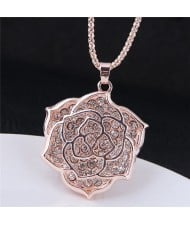Shining Rhinestone Inlaid Hollow Rose Pendant Long Fashion Necklace